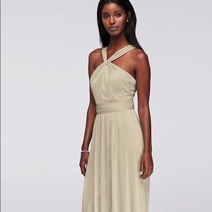 Gorgeous long mesh Y-neck dress, champagne color!